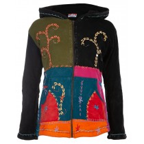 Multicolor Patchworkjacke Damen SPIRIT OF NEPAL NUNAVUT Flowerpower Kapuzenjacke Women